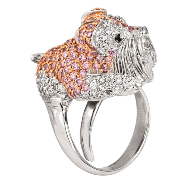 Pink Zirconia Studded Schnauzer Sterling Silver Adjustable Ring