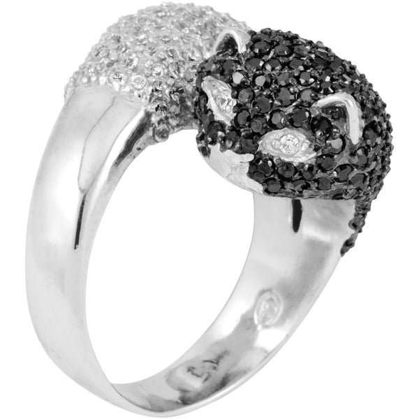 Spotted Zirconia Studded Dual Cat Heads Sterling Silver Adjustable Ring