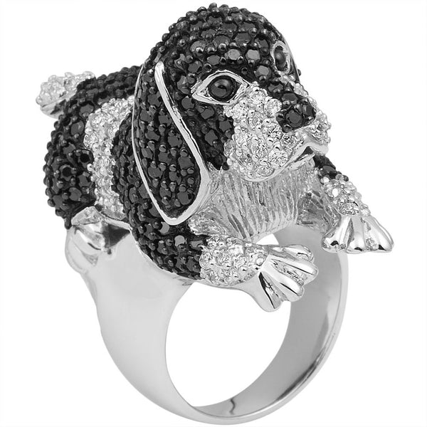 Zirconia Studded Beagle Sterling Silver Ring
