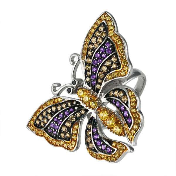 Zirconia Studded Butterfly Sterling Silver Ring