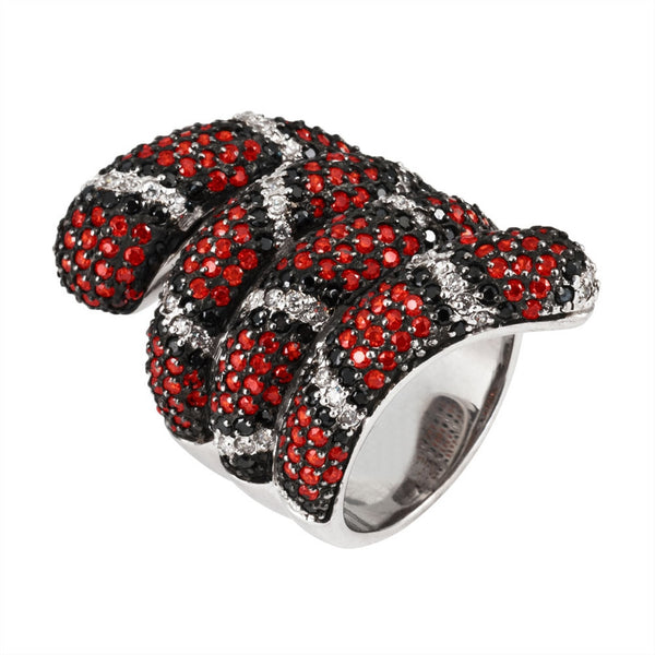 Zirconia Studded Coiled Snake Sterling Silver Ring