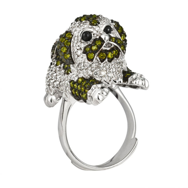 Zirconia Studded Shih Tzu Body Sterling Silver Adjustable Ring