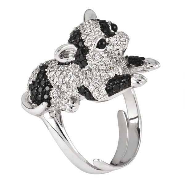 Zirconia Studded Spotted Chihuahua Sterling Silver Adjustable Ring