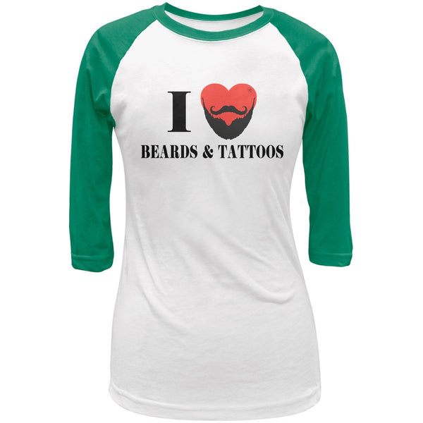 I Heart Beards & Tattoos White/Kelly Green Juniors 3/4 Raglan T-Shirt
