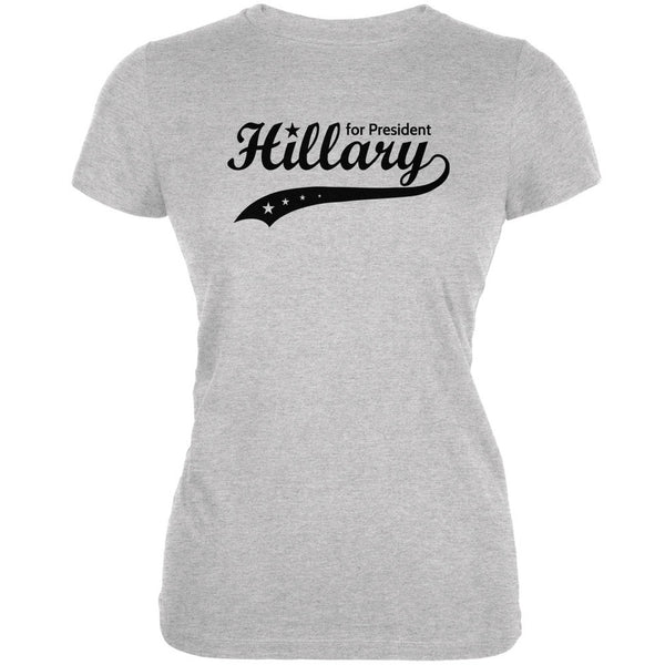 Election 2016- Hillary Clinton for President Swoosh Heather Juniors Soft T-Shirt