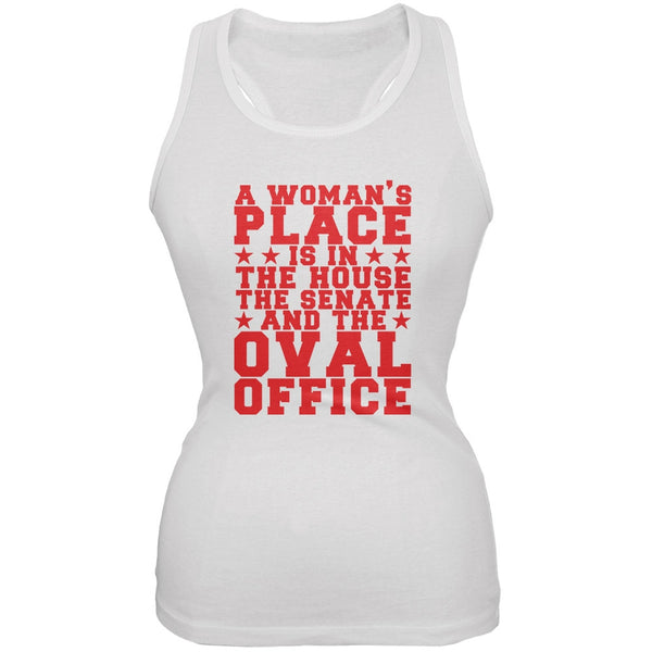 Election Hillary Clinton Woman's Place White Juniors Soft Tank Top