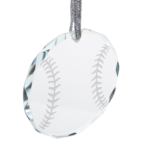 Baseball Etched Round Crystal Ornament