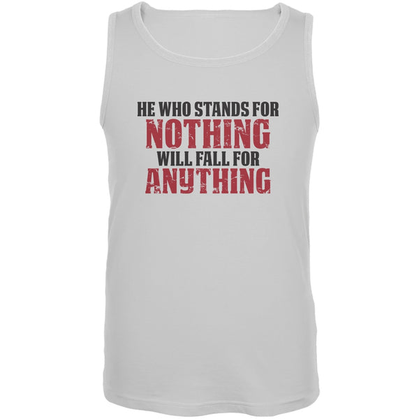 He Who Stands For Nothing White Adult Tank Top
