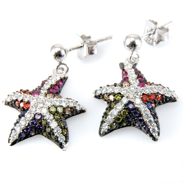 Zirconia Studded Starfish Sterling Silver Earrings