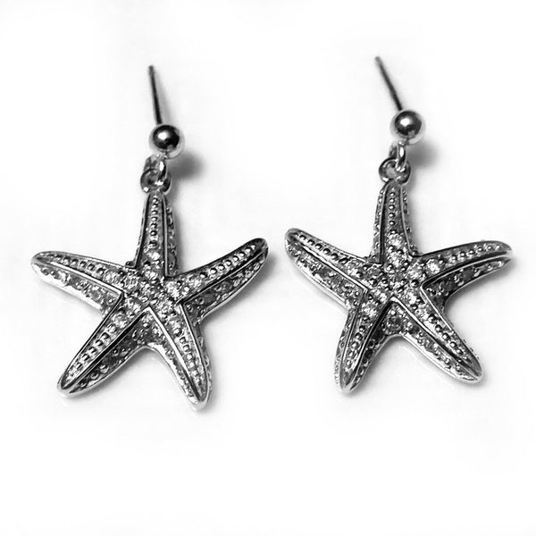Zirconia Studded Starfish Dark Sterling Silver Earrings