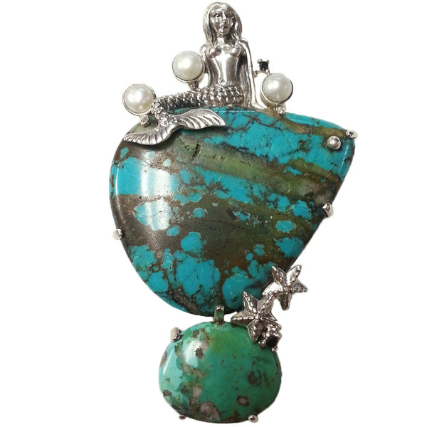 Mermaid With Turquoise And Pearl Sterling Silver Pin