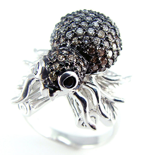 Zirconia Studded Spider Sterling Silver Ring