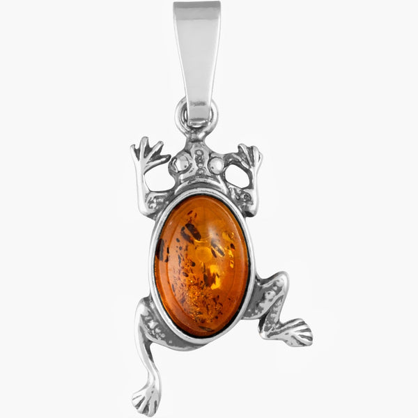 Amber Frog Sterling Silver Pendant