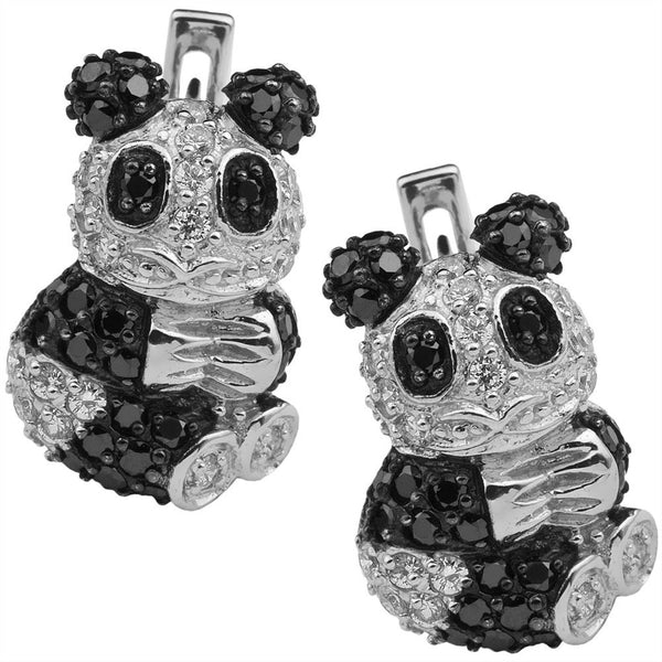 Zirconia Studded Panda Bears Sterling Silver Earrings