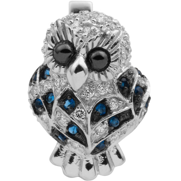 Zirconia Studded Owl Sterling Silver Earrings