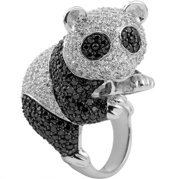 Zirconia Studded Panda Bear Sterling Silver Ring
