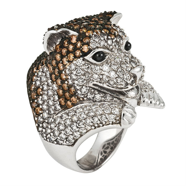 Zirconia Studded Husky Sterling Silver Ring