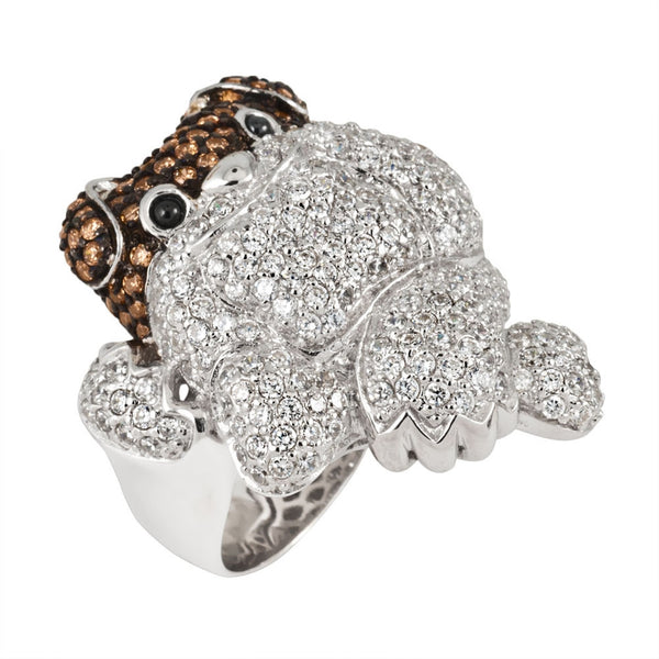 Zirconia Studded Bulldog Sterling Silver Ring