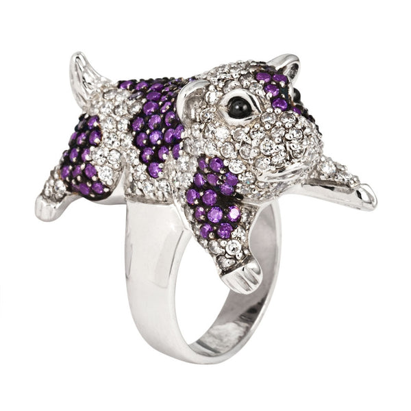 Zirconia Studded Guinea Pig Sterling Silver Ring