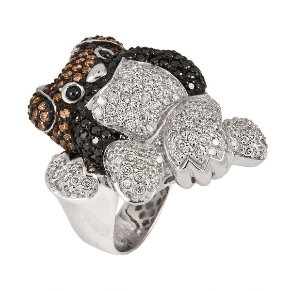 Dark Zirconia Studded Bulldog Sterling Silver Ring