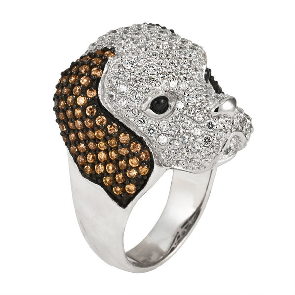 Zirconia Studded Dog Sterling Silver Ring
