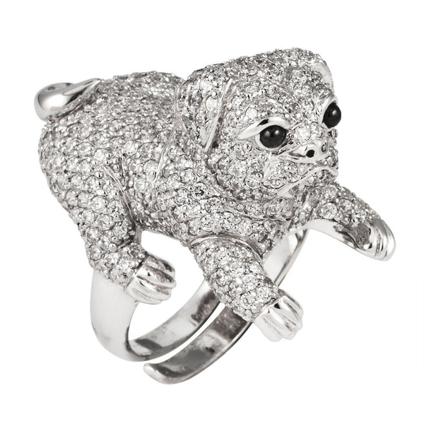 Zirconia Studded Pug Sterling Silver Adjustable Ring
