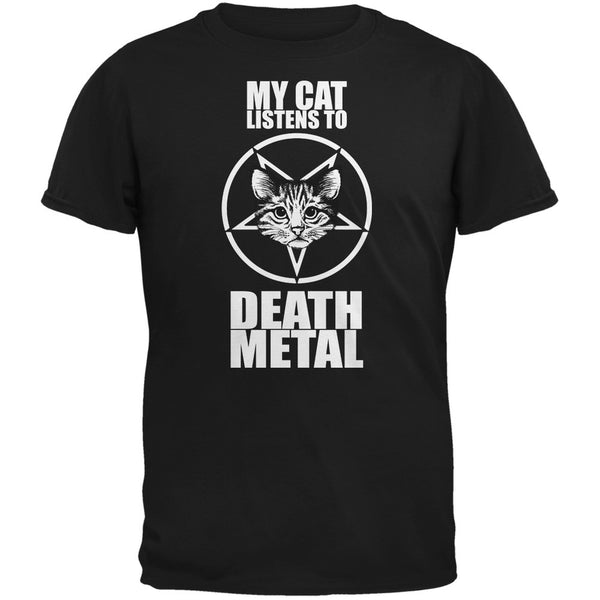 My Cat Listens To Metal Black Adult T-Shirt