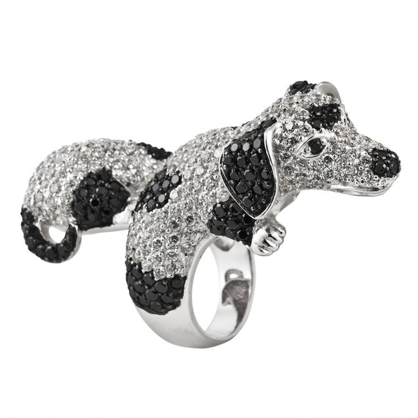 Zirconia Studded Spotted Dachshund Sterling Silver Adjustable Ring