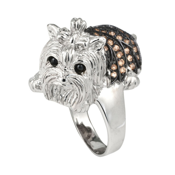 Brown Zirconia Studded Yorkie Sterling Silver Ring