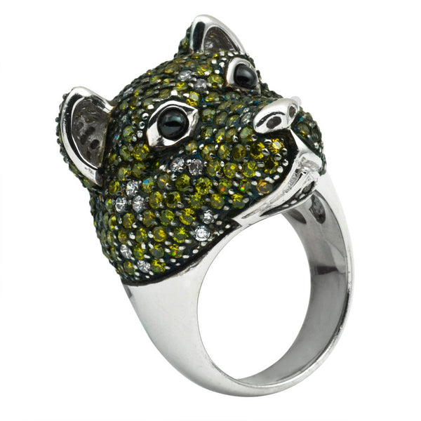 Dark Green Zirconia Studded Bear Sterling Silver Adjustable Ring