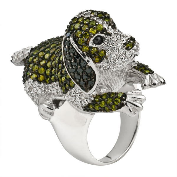 Green Zirconia Studded Beagle Sterling Silver Ring