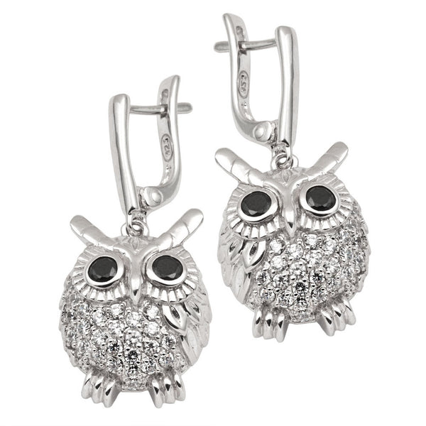 Zirconia Studded Owl Sterling Silver Dangle Earrings