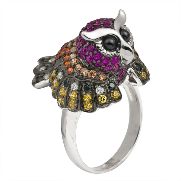 Zirconia Studded Owl Body Sterling Silver Ring