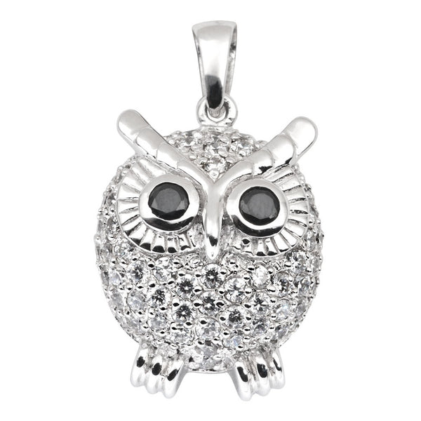 zirconia-studded-parrot-sterling-silver-pendant