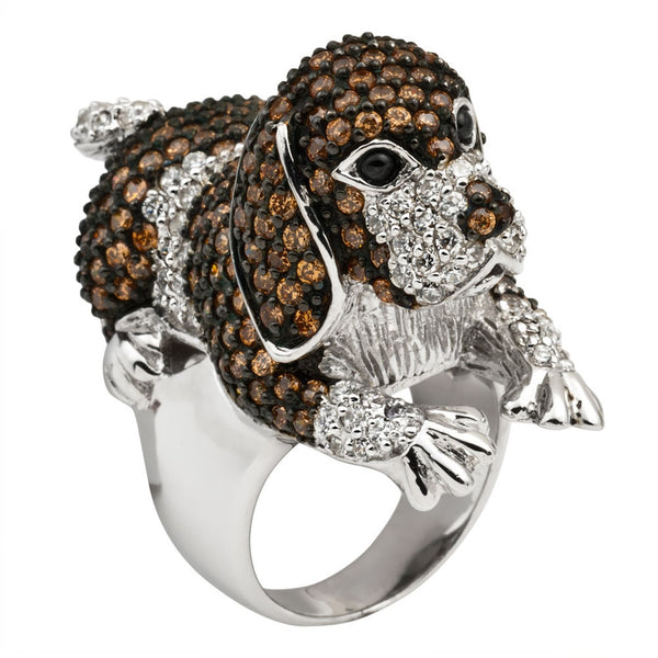 Brown Zirconia Studded Beagle Sterling Silver Ring