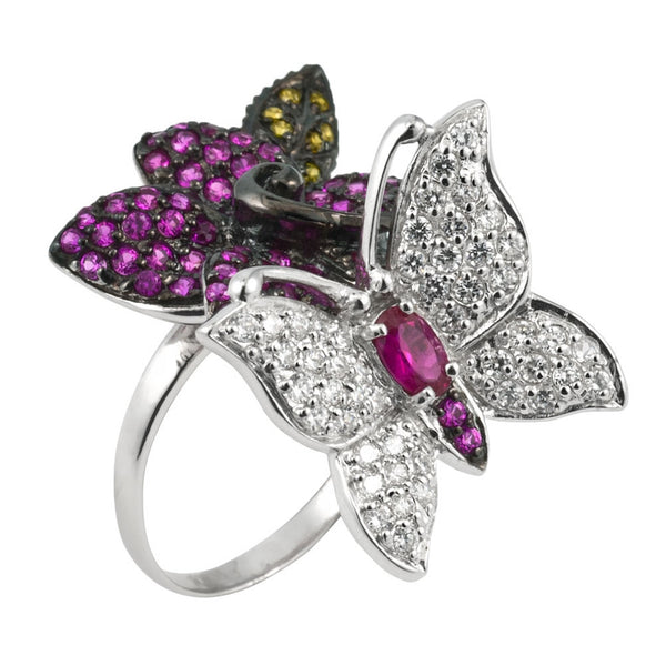 Zirconia Studded Butterfly On Flower Sterling Silver Ring