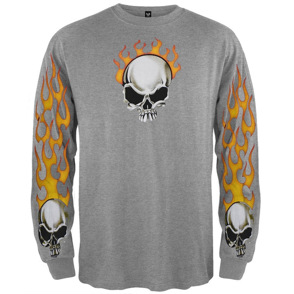 Flame Skull Ash Long Sleeve T-Shirt