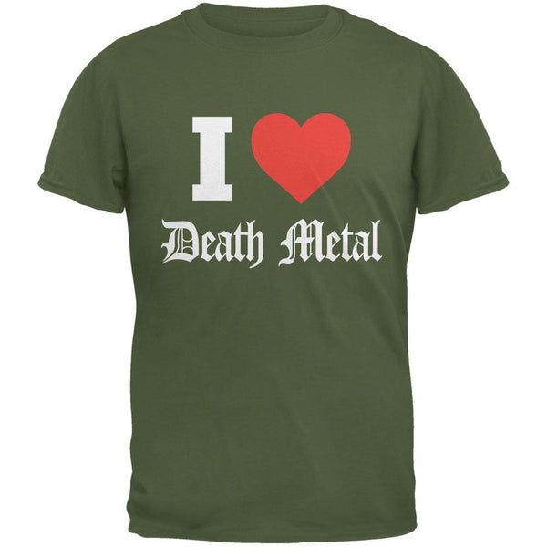 I Heart Death Metal Military Green Adult T-Shirt