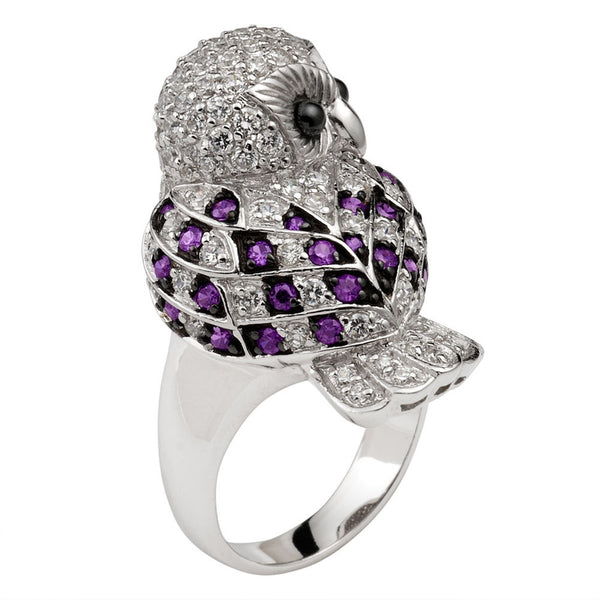 Purple Zirconia Studded Owl Sterling Silver Ring
