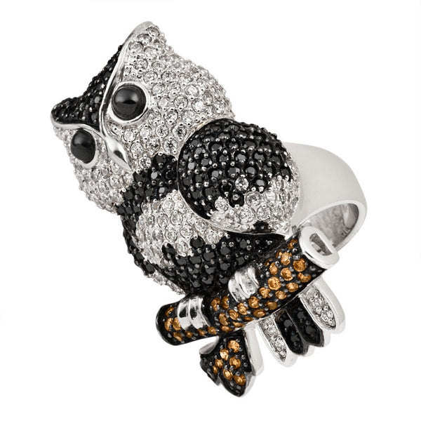 Zirconia Studded Owl Perched Sterling Silver Ring