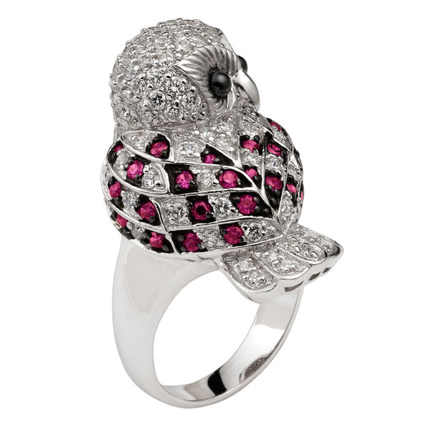 Red Zirconia Studded Owl Sterling Silver Ring