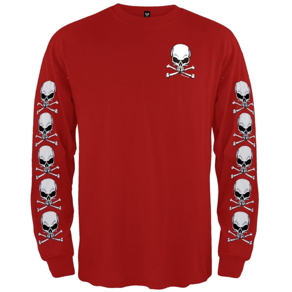 Skull & Crossbones Red Long Sleeve T-Shirt