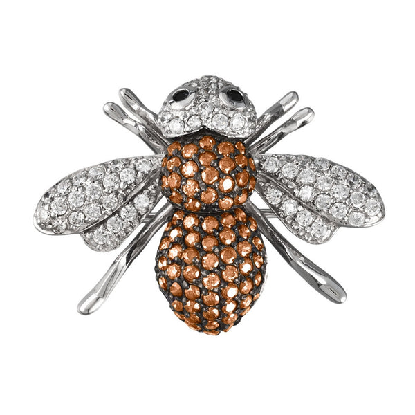 Brown Zirconia Studded Bee Sterling Silver Pin/Pendant