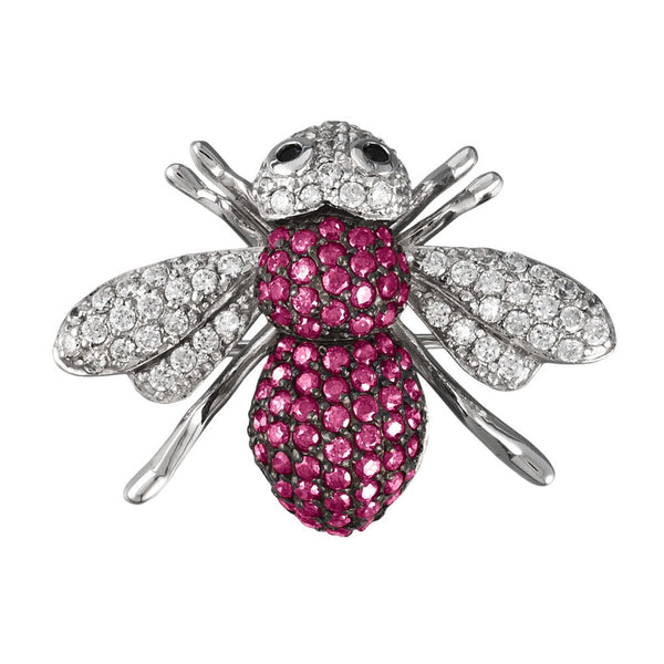 Pink Zirconia Studded Bee Sterling Silver Pin/Pendant