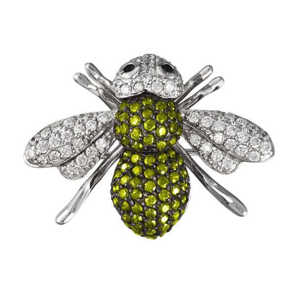 Dark Green Zirconia Studded Bee Sterling Silver Pin/Pendant