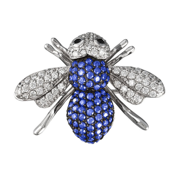 Blue Zirconia Studded Bee Sterling Silver Pin/Pendant
