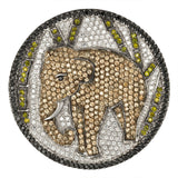 Zirconia Studded Elephant In Forest Sterling Silver Pin/Pendant