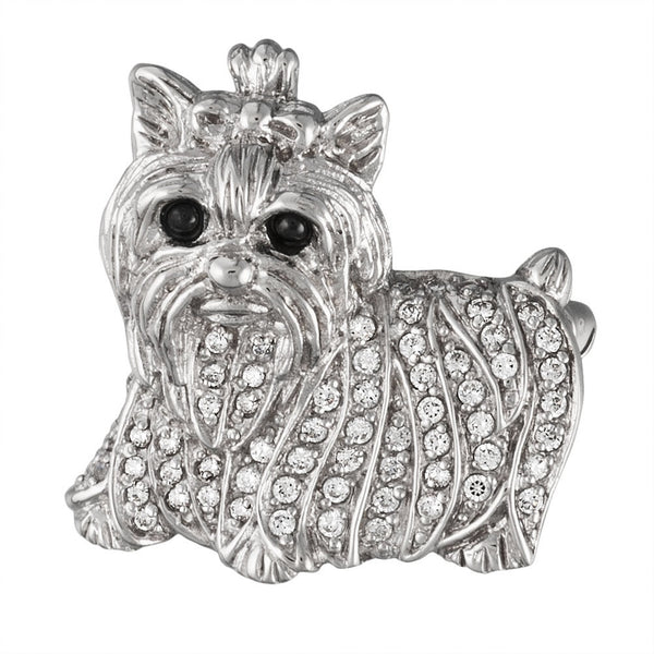 Zirconia Studded Yorkie Sterling Silver Pin/Pendant