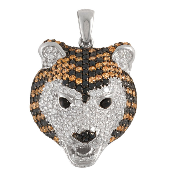 Zirconia Studded Tiger Sterling Silver Pendant