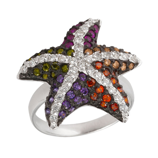Zirconia Studded Starfish Sterling Silver Ring
